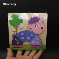 Divertente Cute Cartoon Pecora Animale Puzzle di legno Intelligenza Bambini Giocattoli educativi per bambini Regalo Rompicapo Bambini