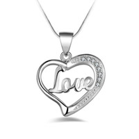 Silver Jewelry Pendant Fine LOVE heart- shaped clavicle chain...