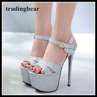 17cm glitter silver gold wedding shoes super high heels plat...