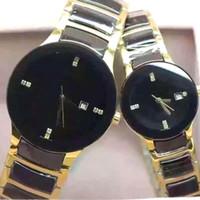 38mm / 26mm Nuovo arrivato Uomini / Donna coppie di diamanti orologi Hot marca lusso pieghevole fibbia da polso di alta qualità LD1 con scatola