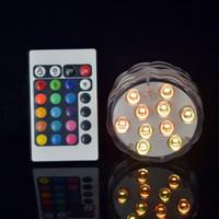 5050 SMD 10 LED submersible bougie lampe Télécommande multicolore Floral Vase base fête d'anniversaire de mariage étanche lumière Décoration 20PCS