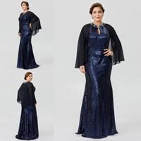 2018 Luxury Mother of the Bride Abiti su misura Plus Size Mermaid Dress Crystal Jewel Neck Madri Dress con paillettes pieno