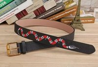 Hot new black and green colors snake pattern Mens Belts High...