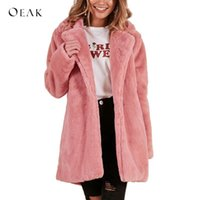 OEAK 2018 Donna Faux Fur Long Coat Winter Warm Fluffy Cardigan Jacket Donna Casual Soft Soft Teddy Coat Plus Size Rosa Outwear