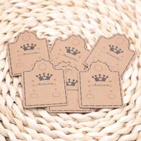 2000 pçs / lote Kraft Papel Ear Studs Packing Tag Colar Cartões Brincos Embalagens De Embalagem Exibição Jóias Preço Etiqueta
