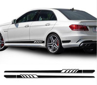 YENI Baskı 1 Stil Mercedes Benz için Yan Şerit Sticker W212 E Sınıfı E63 AMG Çıkartması Etiketler-Siyah / GümüşGri / Beyaz / 5D Karbon