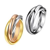 Желтый розовое золото серебро цвета 3 круга палец кольцо для женщины мужчина свадебные украшения из нержавеющей стали 316L высокой полированной