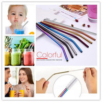 Stainless Steel Drink Straw 6*0. 5*215mm Reusable Rainbow Gol...