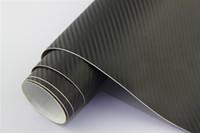 1,52 * 28M Carbont Sided Sticker Sticker Design Bubble Air Matériau GRATUIT Noir 3D Fibre de carbone Vinyle