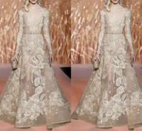 Elie Saab 2018 Vestidos de baile Champagne Sheer Bateau Mangas largas Vestido formal Traje de noche Ilusión Floo - Vestidos de fiesta largos con faja