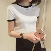 fashion women spring summer o neck solid color short sleeve ...