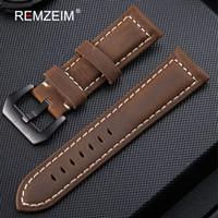 Banda de reloj de cuero genuino 20 mm 22 mm 24 mm 26 mm Crazy Horse Nubuck deportes exterior banda de la correa de la hebilla correa relogio pulseira