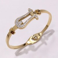 High Quality Gold Color Stainlesss Steel Bangle Rhinestone C...