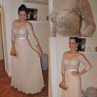 Длина пола бисер жемчуг кружева 3/4 рукава шифон элегантный мать невесты Платья драгоценный камень старинные платья выпускного вечера