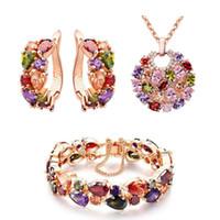 Мода разноцветные цирконий серьги ожерелье кулон браслет розовое золото покрытием ювелирные наборы женщин девушка подарок