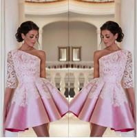 Una spalla Satin A Line Homecoming Dresses 2018 Elegante Abiti da serali da sera da ballo in pizzo rosa elegante BA2921 Personalizzato