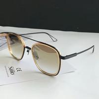 Sistema para hombre One Pilot Sunglasses Black / Gold Brown Shibed Sonenbrille Moda Gafas de sol Gafas de Sol Nuevo con caja
