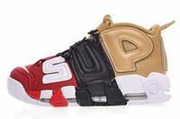 free shipping 9db9c 6ae94 GOLD Tri-Color Flachs Air mehr Uptempo QS Olympische Varsity Gym Rot  Schwarz Herren Basketball Schuhe Airs 3M Scottie Freizeitschuhe Sneakers 40- 47