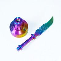 Novo anodizado colorido rainbow titanium carb cap rainbow ti prego dabber 14mm e 18mm para fumar cachimbo de água !!!