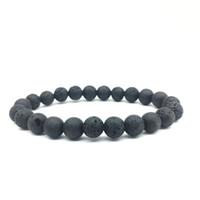 Bracelet de perles de pierre de lave noir 8mm pas cher Bracelet de diffuseur d'huile essentielle de roche de lave de bricolage pour femmes