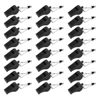 24 Pcs pack Plastic Black Loud Whistles With Lanyard For Eme...