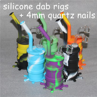 뜨거운 판매 실리콘 Rigs Waterpipe 실리콘 물 담뱃대 실리콘 Dab Rigs 차가운 모양 + 4mm 14mm 남성 석영 손톱
