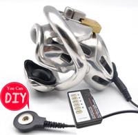 تصميم جديد المضمنة ذكر الديك قفص عبودية قفل الكهربائية صدمة العفة جهاز الكبار bdsm لعبة الجنس
