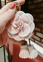High quality Lace Flower Leather Tassel Keychain Bag Pendant...