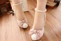 Beaded Bow Pink Wedding Pumps Shoes Round Toe Ankle Comforta...