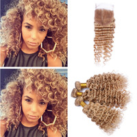 #27 Strawberry Blonde Peruvian Hair Weaves with Lace Closure...