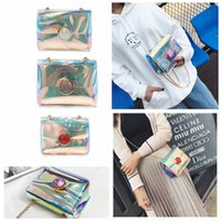 Women Laser PVC Chain Shoulder Bag Flap Beach Bag Summer Jel...