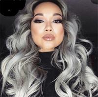 Fashion Ombre brasiliano capelli umani 1b grigio wave wave vergine capelli umani piena parrucca di pizzo per il trasporto nero spedizione gratuita