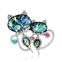 Animals Insect Cat Butterfly Metal Alloy Crystal Conch Brooc...