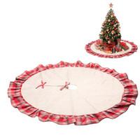 122cm 산타 클로스 트리 스커트 크리스마스 트리 스커트 격자 무늬 프릴 가장자리가있는 삼베 조각 크리스마스 빨간색과 검은 색 목가적 인 스타일의 격자 무늬 삼베 트리 스커트