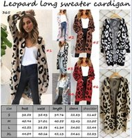 Women leopard long cardigan long sleeve big pockets knit swe...