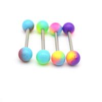 Кольца языка Piercing прямой штангу хирургической стали 14G шарики красочные моды тела ювелирные изделия 16 мм длина