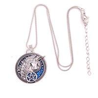 Özel Tasarım Deseni Unicorn ile Pentagram kolye Sihirli Mavi Emaye-Ortaçağ Talisman Malzeme Çinko Alaşım Dropshipping sağlayın
