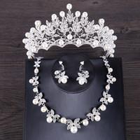 FORSEVEN Luxus Simulierte Perle Hochzeit Schmuck-Set Silber Farbe Kristall Braut Krone Tiara Butterf Halskette Ohrring Sets Schmuck