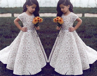 Dentelle fleur girl robes pour mariage vintage bijou manches courtes une ligne fille filles robe de pageant enfants anniversaire robe de bal