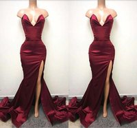 New Arrival Burgundy Long Prom Dresses 2018 High Side Split ...