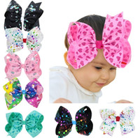 Christmas Baby Unicorn Jumbo San Valentino Unicorno capelli Bow Large Paint Splatter Love Heart Clip di capelli per adolescenti Girls Kid