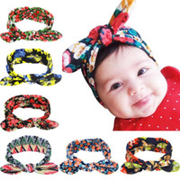 Infants Bowknot Head Band Baby Printed Rabbit Ears Headbands...