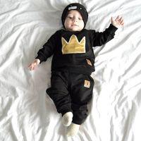 الخريف ملابس الطفل مجموعات الرضع القطن بأكمام طويلة القميص السراويل الاطفال ازياء مجموعة تاج ازياء