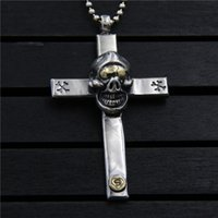 Vintage Skull cross pendant with Thai silver domineering nec...