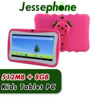 """2018 Sıcak Çocuklar Marka Tablet PC 7 """"Dört Çekirdek Çocuk Tablet Android 4.4 Allwinner A33 Google Oyuncu Wifi Büyük Hoparlör Koruyucu Kapak 10 adet"""