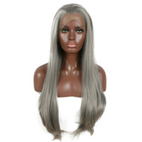 Free Shipping Long Gray Synthetic Lace Front Wig Silver Grey...