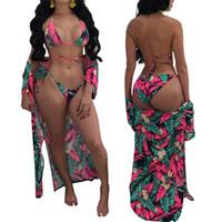 Femme Biquíni Impressão Mangas Compridas Casaco Solto Manto Mulher Bandage Swimsuit Senhora Swimwear Conjoined Dois Pieces Ternos 5 5sn V
