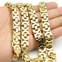 AMUMIU 11mm Altın Büyük Ağır Uzun Paslanmaz Çelik Bizans Erkekler Zincir Kolye 316L Paslanmaz Çelik Takı Altın KN016