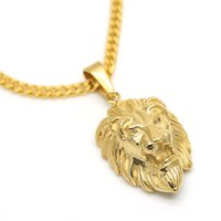 JHNBY Львиная голова подвески ожерелье высокое качество мода хип-хоп 70 см длинные позолоченные заявление ожерелье цепь мужчины ювелирные изделия