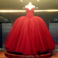 Vermelho Querida vestido de Baile Vestidos de Baile Top Frisado Tule Multi Camadas Vestido de Noite Custom Made Inchado Formal Vestido de Festa Mulheres Vestidos